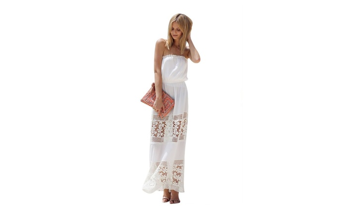 Charming Women Strapless White Lace Chiffon Tube Top Maxi Dress