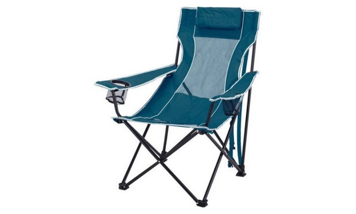 Remarkable Ozark Trail Oversized Mesh Lounge Camping Chair With Cup Theyellowbook Wood Chair Design Ideas Theyellowbookinfo