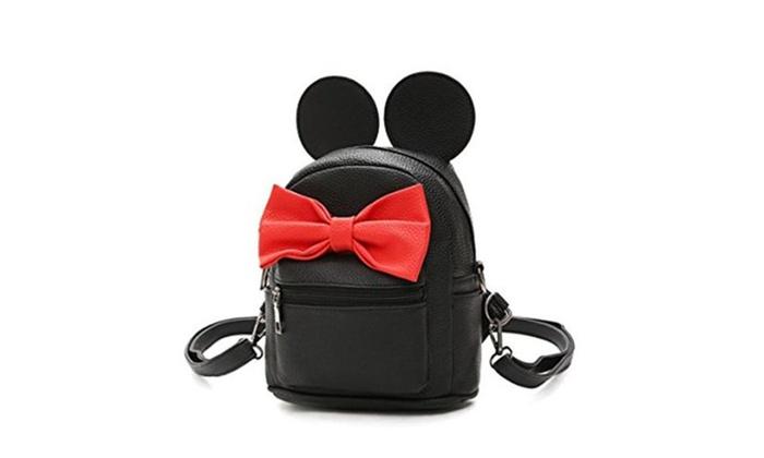 School Girl's Cute Bowknot  PU leather Backpack