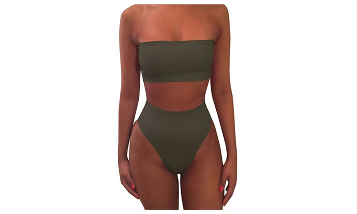 437b716d1fe3 Women's 2 Piece Solid Bandeau Swimsuit Top Bottom Set | Groupon