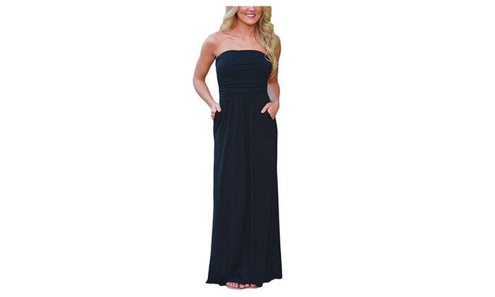 Women's Floral Print Bohemian Long Dress Strapless Beach Maxi Dress