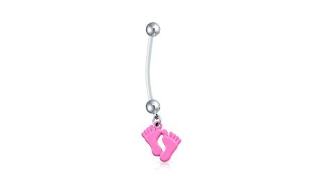 Bling Jewelry Bioflex Pink Enamel Baby Feet Pregnant Belly Ring be137821-61f4-4d06-a2ec-c782ce86273f