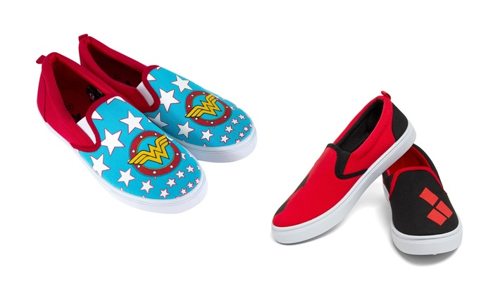 8029171e124a Slip On Sneakers - DC Wonder Woman   Harley Quinn