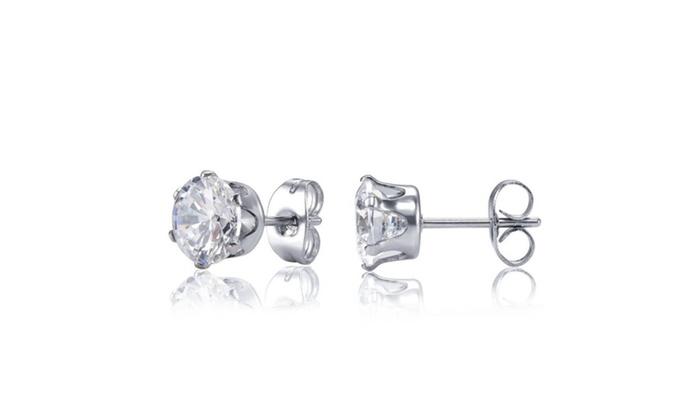 Sterling Silver Crystal Stud Earring