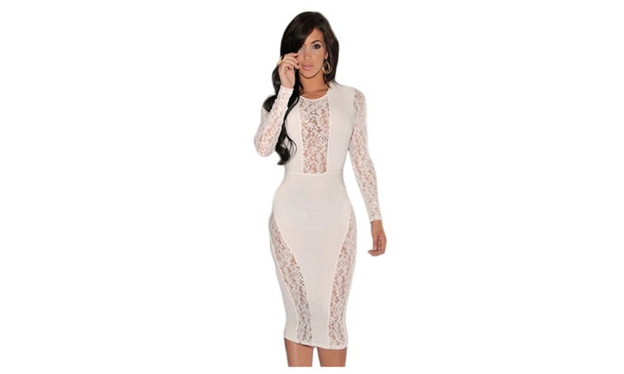Women's White Lace Accent Party Midi Dress - White / one size