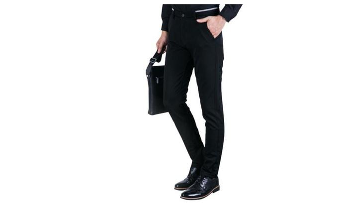 Men's Fashion Casual Long Straight Zipper Pants