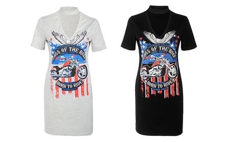 Print Sexy Choker Neck Women Dress Short Sleeve Tops Casual T shirt 4d0c5cd6-2c47-49dc-970f-b29ff10cdc46
