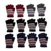 12 Pairs Of Womens Stripe Knit Warm Fashion Winter Gloves
