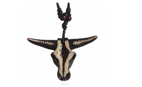 Wax Cord Real 3D Carving Tribal Bull Skull Head Necklace 7593f8a5-ff22-445b-b26d-dee496790958