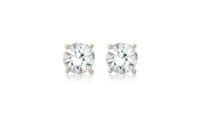 Empire Jewelry: 14k White Gold Round Natural White Sapphire Studs Earrings