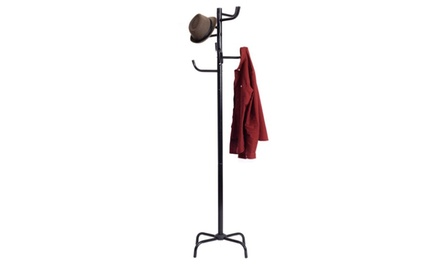 Metal Coat Hat Rack Clothes Hanger Tree Stand Hall Umbrella Holder Hooks Black