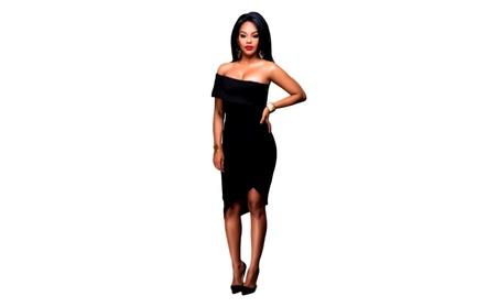 Black Slash Neck Women's Party Dress 18e995a8-ff73-41f3-9c75-63ab4e9066a7