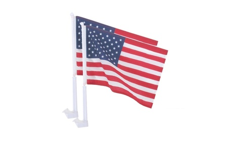 "USA Fabric Flag with Car Window Clip 12"" x 17"" Made In US (Pack of 2) 9a750fb1-a812-4159-9014-0512c48c11c4"