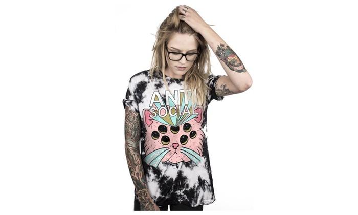 "Zimin Store: T-shirt Print ""Anti Social"" Alien Pink Eye Cat Short Sleeve Tops Tees"