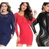 Hellochic Fashion Lace Illusion Long Sleeves Bodycon Dress For Women