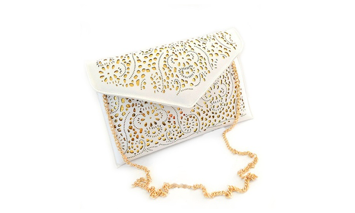 Laser Cut Envelope Clutch Bag in White