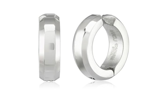 Groupon Goods: Stainless Steel Beveled Clip-on Hoop Earrings