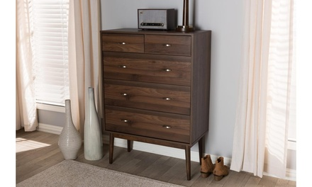 Disa Mid-century Modern Walnut Wood 5-drawer Chest