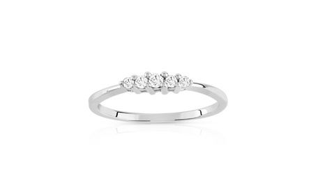Solid White Gold 1/6 CT. Round Real Diamond Five Stone Engagement Ring