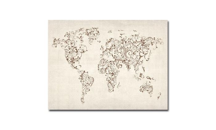 Michael tompsett world map swirls canvas art groupon art michael tompsett world map swirls canvas gumiabroncs Images