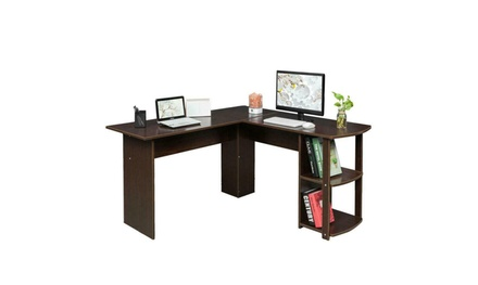 Wood L-Shaped Computer Desk Home Office Laptop PC Table 2 Bookshelves Dark Brown