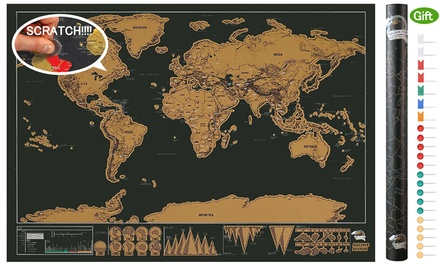 Map Poster - Personalized Black Scratch Off Art World Map Decor Poster