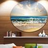 Cloudy Sky and Vibrant Blue Sea' Seascape Metal Circle Wall Art
