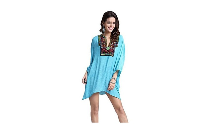Women's Casual Embroidered Blouse Semi Sheer Loose Shirt Tunic Tops