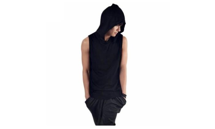 Mens Fashion Sleeveless Hoodie T-shirts Elastic Sports Casual Tee