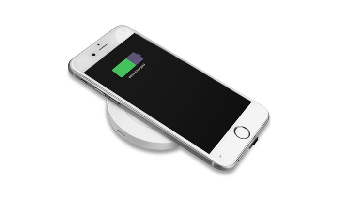 wireless charging pad for iphone or qi enabled devices livingsocial. Black Bedroom Furniture Sets. Home Design Ideas