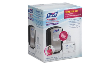 Go Jo Industries Ltx 7 Hand Sanitizer Kit, Touch Free, Chrome/Black 2284d547-521f-4a74-9380-dbcad7e43559
