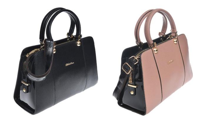 Faux Leather and Faux Patent Leather Fashion Handbag, Shoulder Bag
