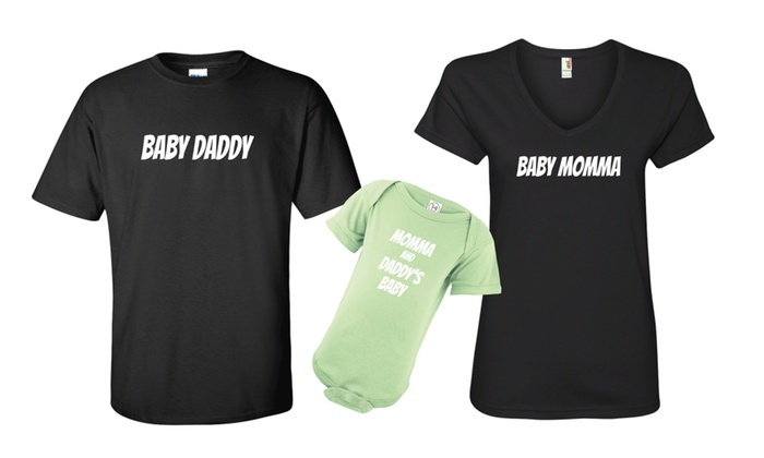 309292511 Baby Daddy & Baby Momma & Baby Onesie Matching T-shirt Tee Set | Groupon