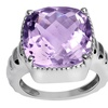 Orchid Jewelry Cushion-cut 10-2-5 Amethyst Solitaire Silver Ring