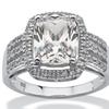 3.46 TCW Cushion-Cut Cubic Zirconia Platinum over Sterling Silver Ring