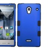 Insten Sharp Aquos Crystal Blue Black HybridCase Rubber w/ protector