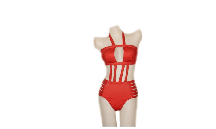 Women's Bandage Halter Cut Out One Piece Bikini Set