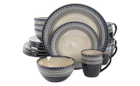 Gibson Magello 16 Piece Dinnerware Set, Cream/Brown/Blue