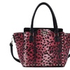 MyLux Studded Patent Leather Leopard Winged Satchel-RD