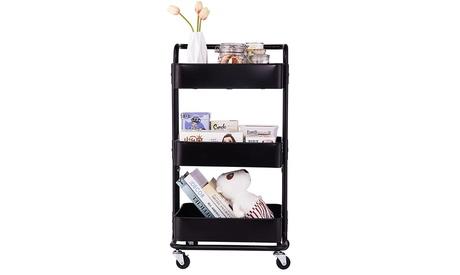 3-Tier Home Kitchen Storage Utility cart with Plastic Basket & handle-Black