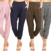 Women's Junior-Sized Harem Cropped Loose-Fit Jogger Pants (3-Pack)