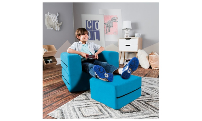 Pleasant Jaxx Zipline Kids Flip Chair Ottoman Big Kids Edition Lamtechconsult Wood Chair Design Ideas Lamtechconsultcom