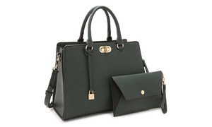 MMK Collection by Marco Kelly Twist-Lock Satchel Handbag with Wallet
