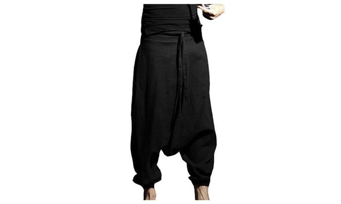 Men's Loose Fit Wide Leg Mid Rise Casual Pants