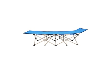 Folding Chaise Lounge Chair Bed Adjustable Outdoor Beach Camping Recliner Blue
