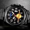 Men's Quartz Black Stainless Steel Multifunction Chronograph Watches