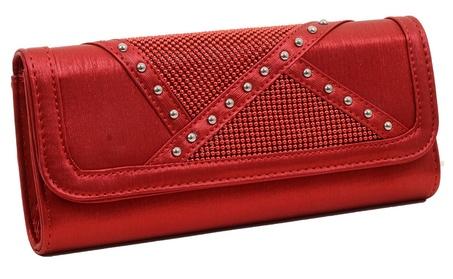 Red Satin Vegan Stud Detailed Womens Fashion Clutch Purse w/ Strap (Goods Women's Fashion Accessories Handbags) photo
