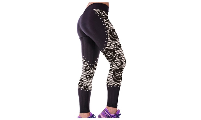 Women's Gothic Rose Lace Metal Studs Detail Gym Yoga Capris – one size