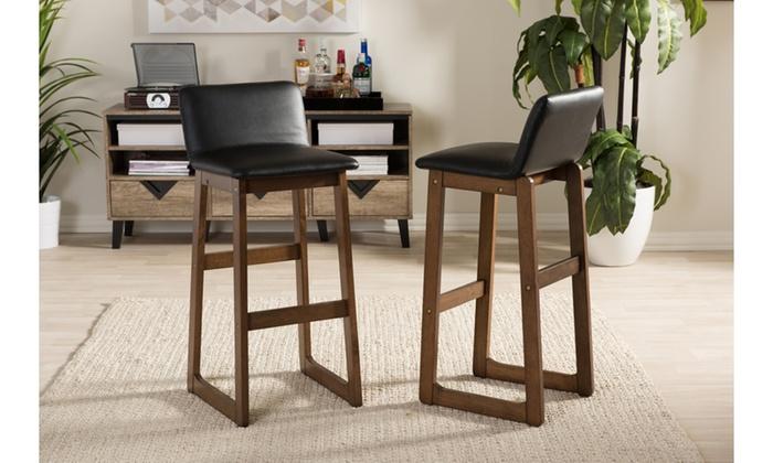 Enjoyable Loft Walnut Finish 29 Barstool Set 2 Piece Groupon Dailytribune Chair Design For Home Dailytribuneorg