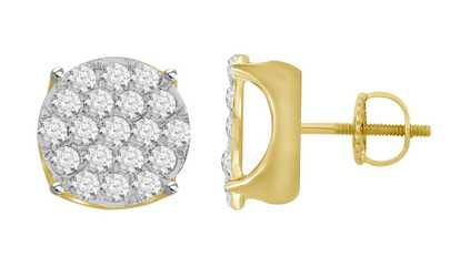 18ad0369b Shop Groupon 1.50 cttw Round Natural Diamond Mens Cluster Stud Earrings  Solid 10K Yellow Gold